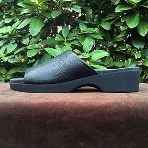 Black leather slip-on sandals from Rockport